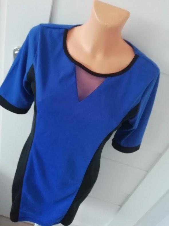 chabrowo niebieska sukienka M L