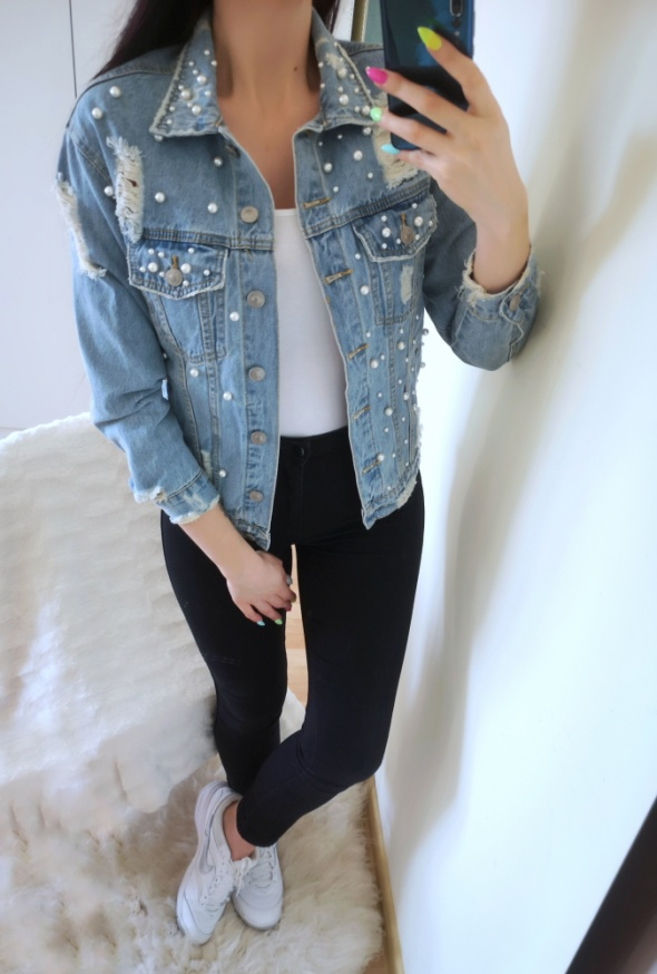 See See Kurtka damska jeansowa z perełkami S 36