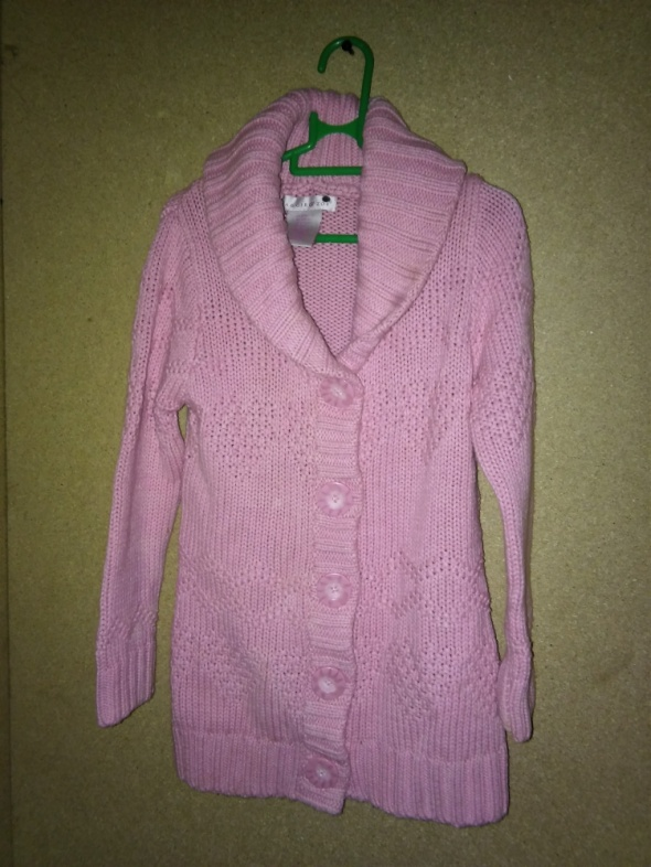 Pozostałe Różowy długi sweter kardigan z kołnierzem 104 cm