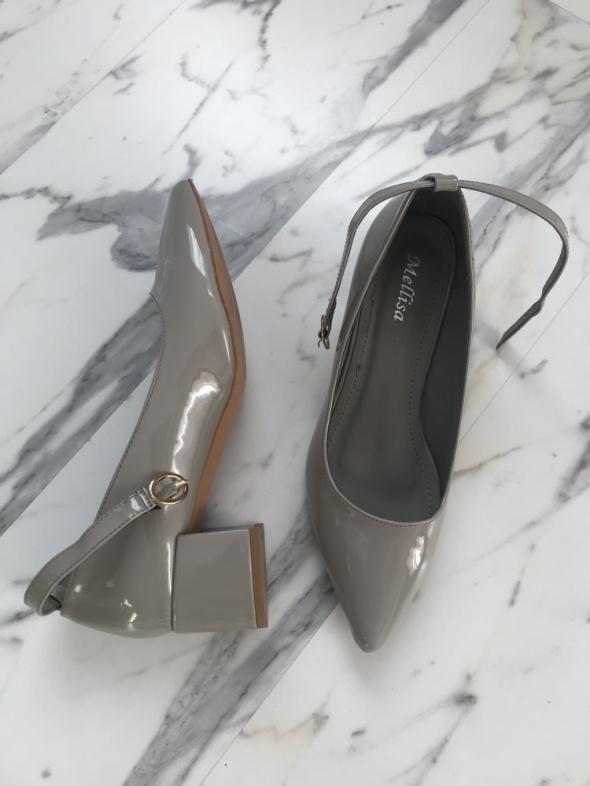 szare buty lakierowane czółenka 39 40