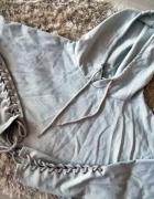 Bluza crop top z kapturem wiązana sznurki rękaw S...