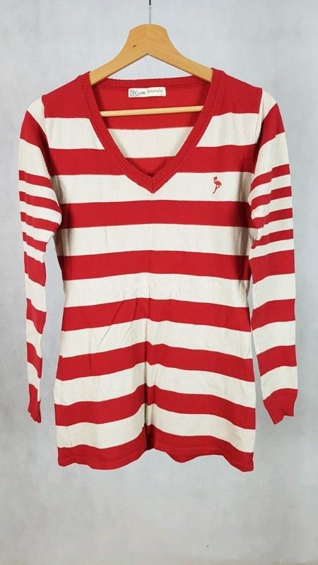 Sweter pasy czerwono bezowe Kenvelo L