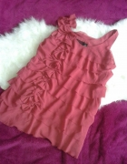 H&M róż różowa sukienka kwiaty warstwowa krótka...