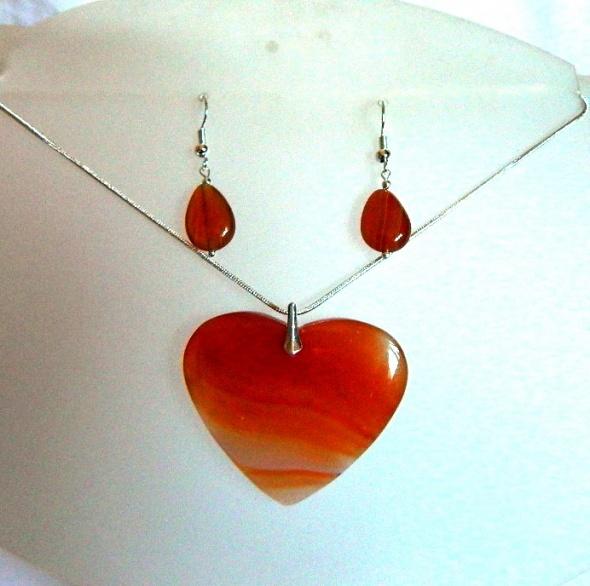 Pomarańczowe serce z agatu wisior i kolczyki srebro zestaw biżuterii