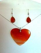 Pomarańczowe serce z agatu wisior i kolczyki srebro zestaw biżu...