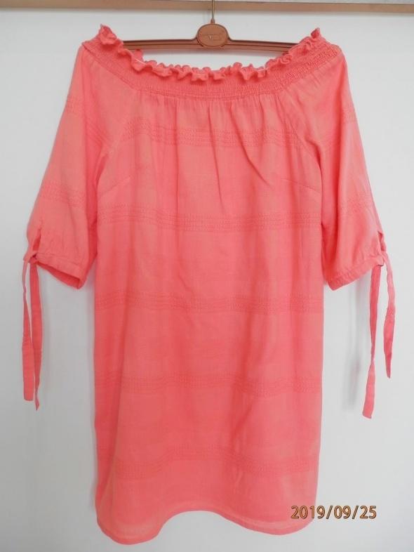 Sukienka Hiszpanka Odkryte Ramiona Koralowa Trapezowa by UK 38