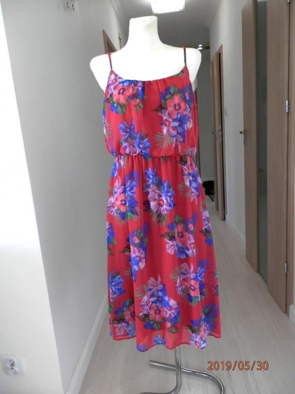 Sukienka New Look Obłędne Kwiaty Tropikalne Rozkloszowana 44