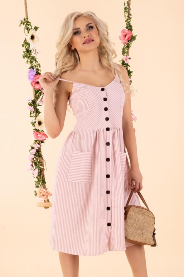 Śliczna różowa sukienka ramiączka S M L XL Kolory mięta szara