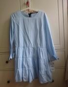 Błękitny niebieski kombinezon sukienka Zara 38 M...