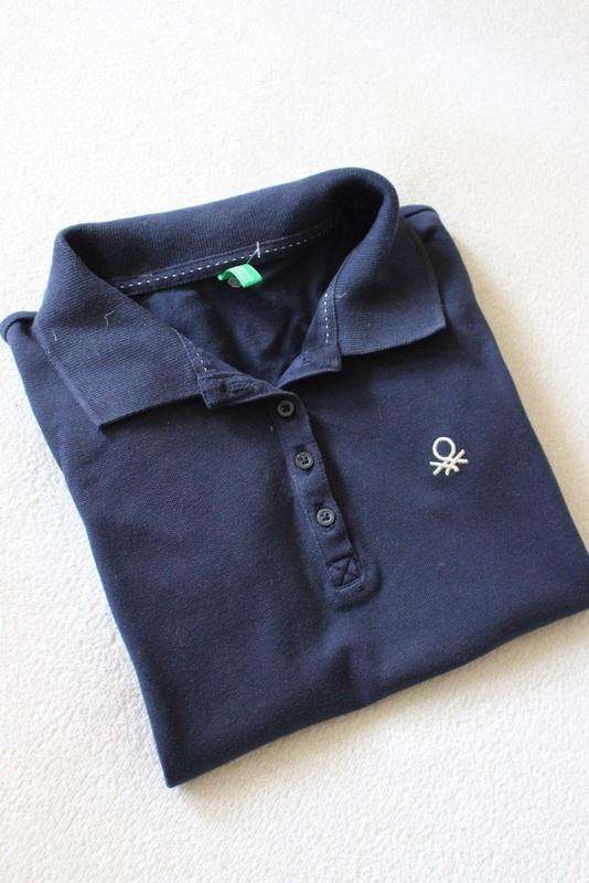 granatowa bawełniana koszulka polo benetton m