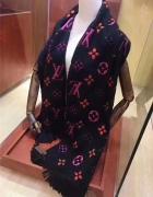 Szal LV Louis Vuitton szalik damski długi wełna czarny 198 x 31...