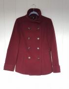 Krótki płaszcz H&M 40 L płaszczyk zima ciemny bordowy flausz ci...