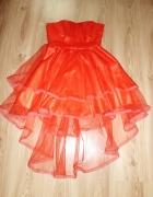 czerwona tiulowa asymetryczna sukienka L 40...