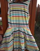 Nowa outletowa rozkloszowana sukienka w paski z kieszeniami 38 ...