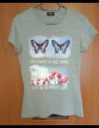 Nowa szara bluzka koszulka motylki 158 164 Takko Fashion