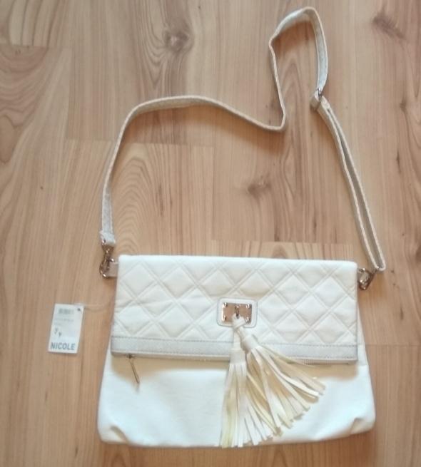 Nowa biała torebka listonoszka długi pasek frędzelki