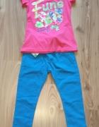 Nowy dziewczęcy komplecik różowa bluzka i niebiesk...