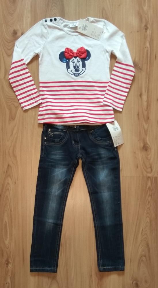 Nowa bluzka z Myszka Minni i jeansy spodnie 122