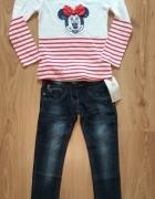 Nowa bluzka z Myszka Minni i jeansy spodnie 122...