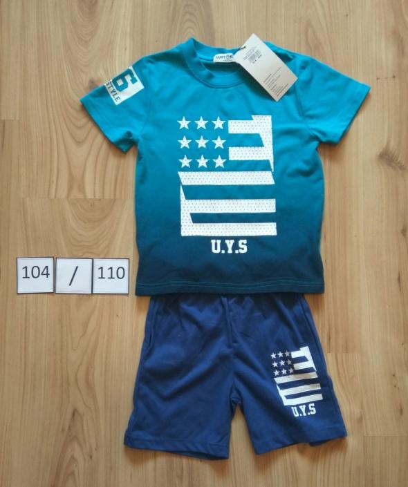 Nowy niebieski komplet koszulka spodenki krótkie letni 104 110