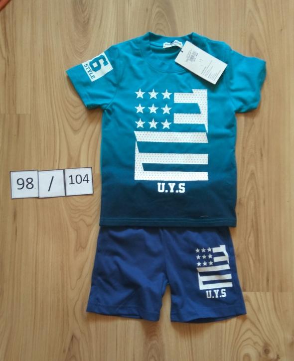 Niebieski nowy letni komplecik chłopięcy spodenki koszulka 98 104