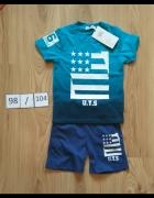 Niebieski nowy letni komplecik chłopięcy spodenki koszulka 98 1...