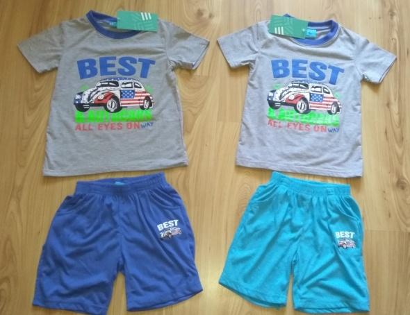 Komplet chłopięcy letni nowy bluzka spodenki auto garbus 104 110