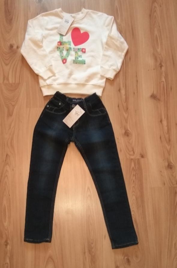 Nowy komplet dziewczęcy biała bluza i spodnie jean