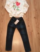 Nowy komplet dziewczęcy biała bluza i spodnie jean...