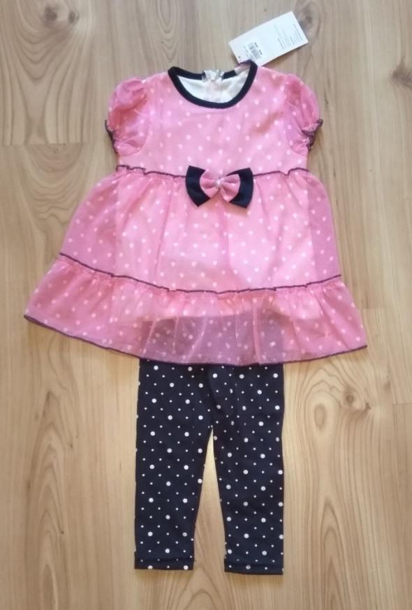 Nowa różowa sukienka z getrami 92 98
