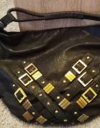 Next czarna torba łodka zdobiona złotem...