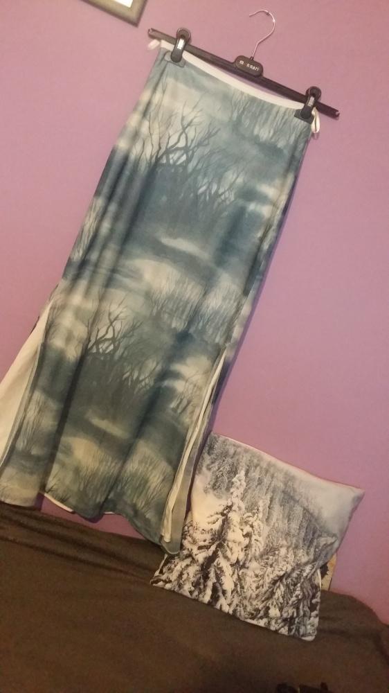 Spódnice Bajeczna długa spódnica w drzewa mgła mgiełka błękit nietypowa unikat