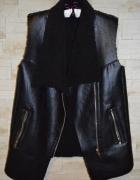 H&M kamizelka bezrękawnik kożuch czarny połyskujący gruby srebr...