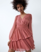 Zara nowa sukienka plumeti brudny róż falbanki dekolt V...