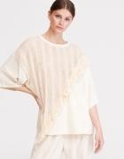 Reserved luźny gruby t shirt bluzka oversize z frędzlami frędzl...