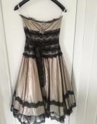 Apart Glamour czarno beżowa suknia balowa r 36...