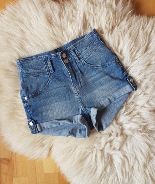 TOPSHOP jeansowe SPODENKI Wysoki stan MOTO