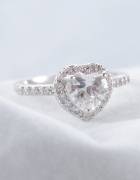 Nowy pierścionek srebrny kolor cyrkonie serce serduszko eleganc...