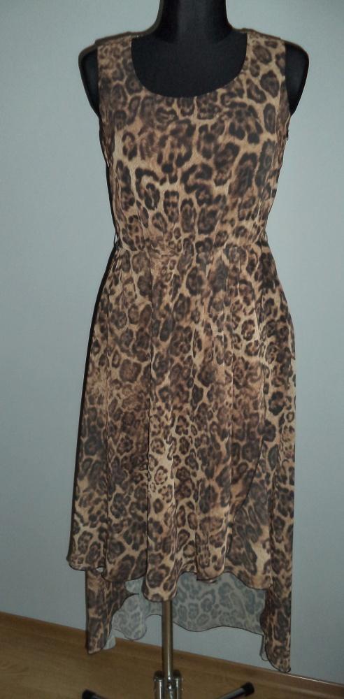 Sukienka w panterkę asymetryczna długa...