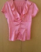 Różowa bluzka z falbanką L