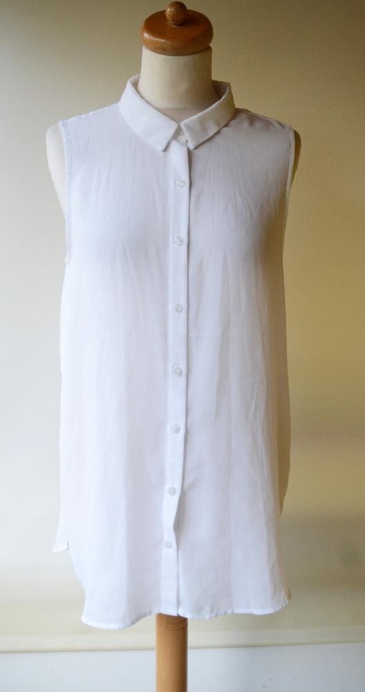 Koszula XL 42 Biała H&M Mgiełka Oversize Biel