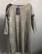Zara nowa szara sukienka ze wstawkami skórzanymi 36 38