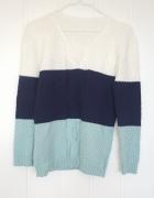 Sweter pleciony włóczkowy L M 40 48 biały granatowy miętowy biel mięta