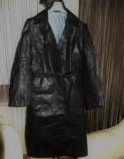 Płaszcz skórzany czarny vintage GOTH METAL