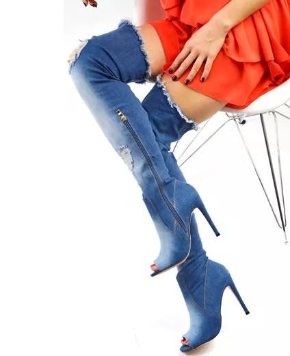 Kozaki Sexy jeansowe dzinsowe jeans kozaki 36 11 cm obcas