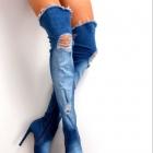 Sexy jeansowe dzinsowe jeans kozaki 36 11 cm obcas