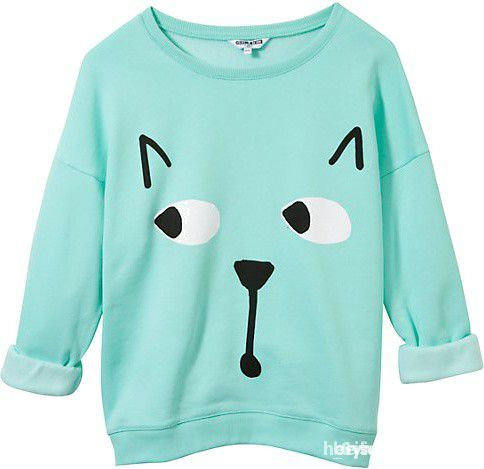 poszukiwana miętowa bluza z kotem