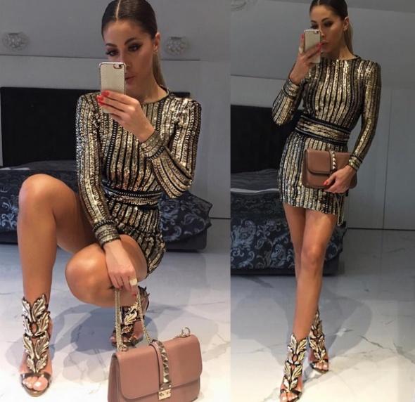 Poszukiwania sukienka bodycon złote cekiny