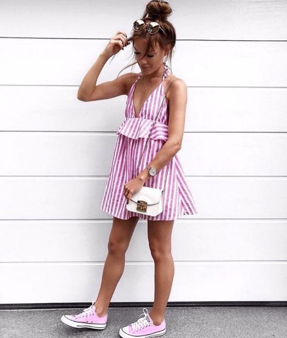 Letnia sukienka paski dwa kolory