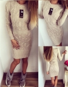 Śliczna długa sweterkowa sukienka dwa kolory